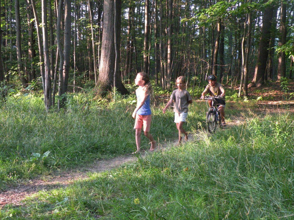 Kids playing in the Canco Woods